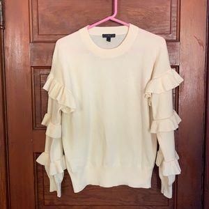 J. Crew Double Trouble Ruffle Sleeve Wool Blend Cream  Sweater SM